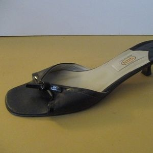 Vintage Black Patent Trim Open Toe Slip On